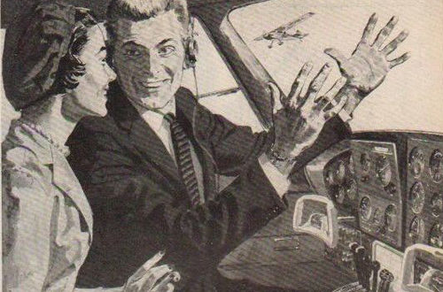 sepia toned illustration featuring a male pilot enthusiastically speaking to a woman inside of a cockpit in a 1950s airplane.