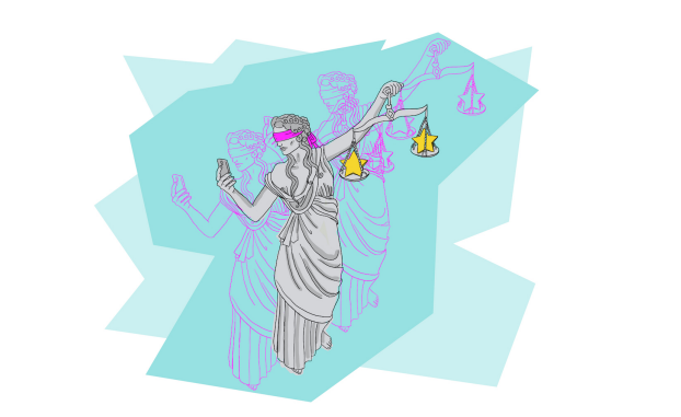 colorful illustration of Lady Justice wearing a blindfold and taking a selfie.