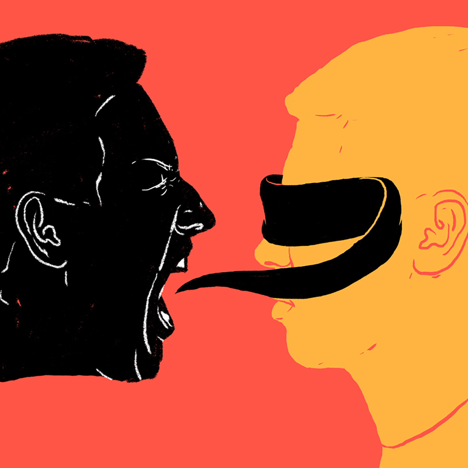 brightly colored illustration of one person whose yelling is obscuring the eyes of a second person with a blindfold.