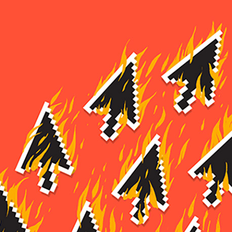 Illustration of flaming arrow cursor icons over a bright orange background.