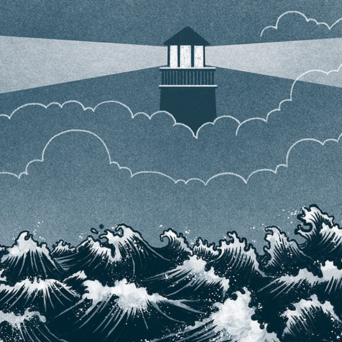 Illustration in a blue motif of lighthouse, obscured by clouds, shining across a tumultuous ocean.