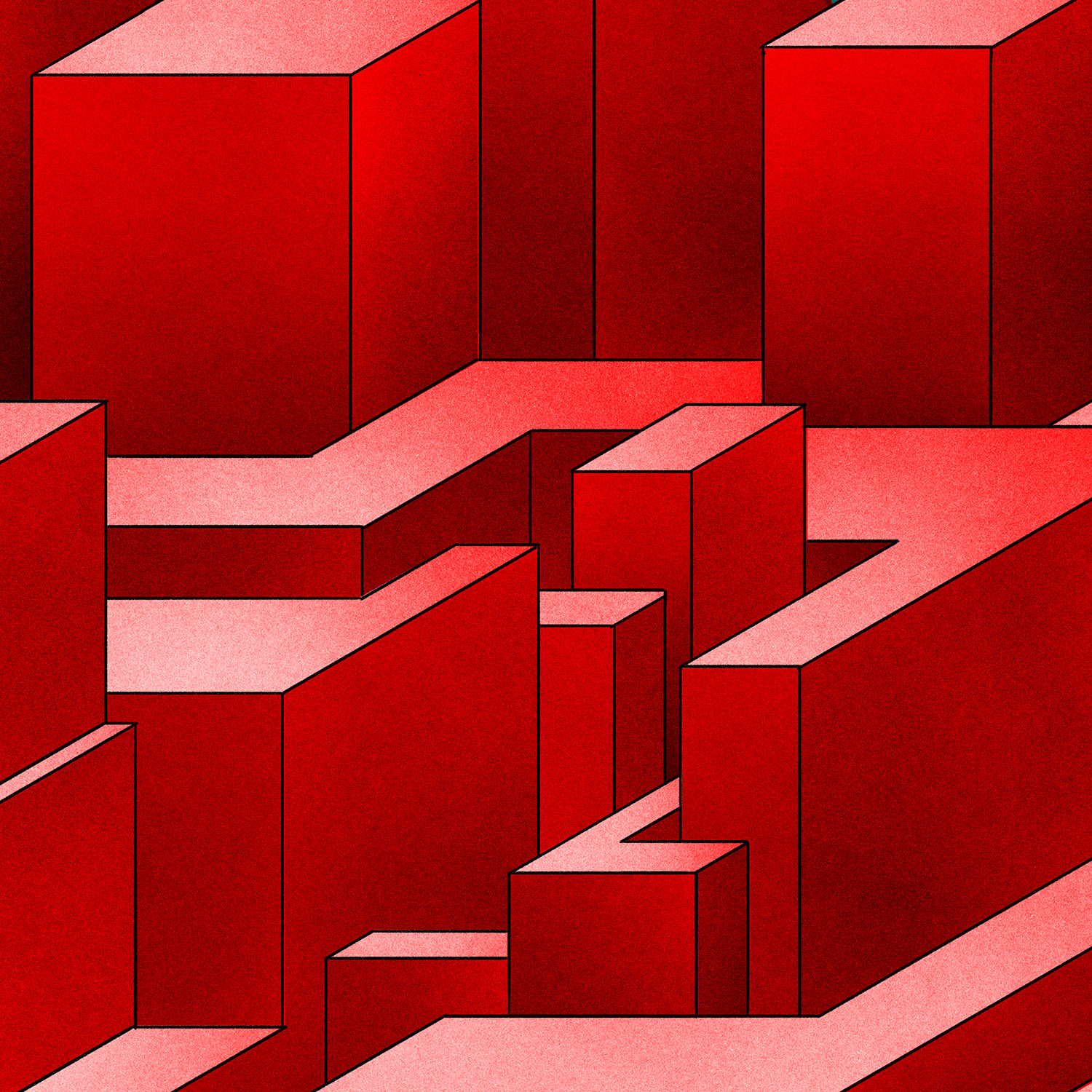 Illustration of red maze-like structure.