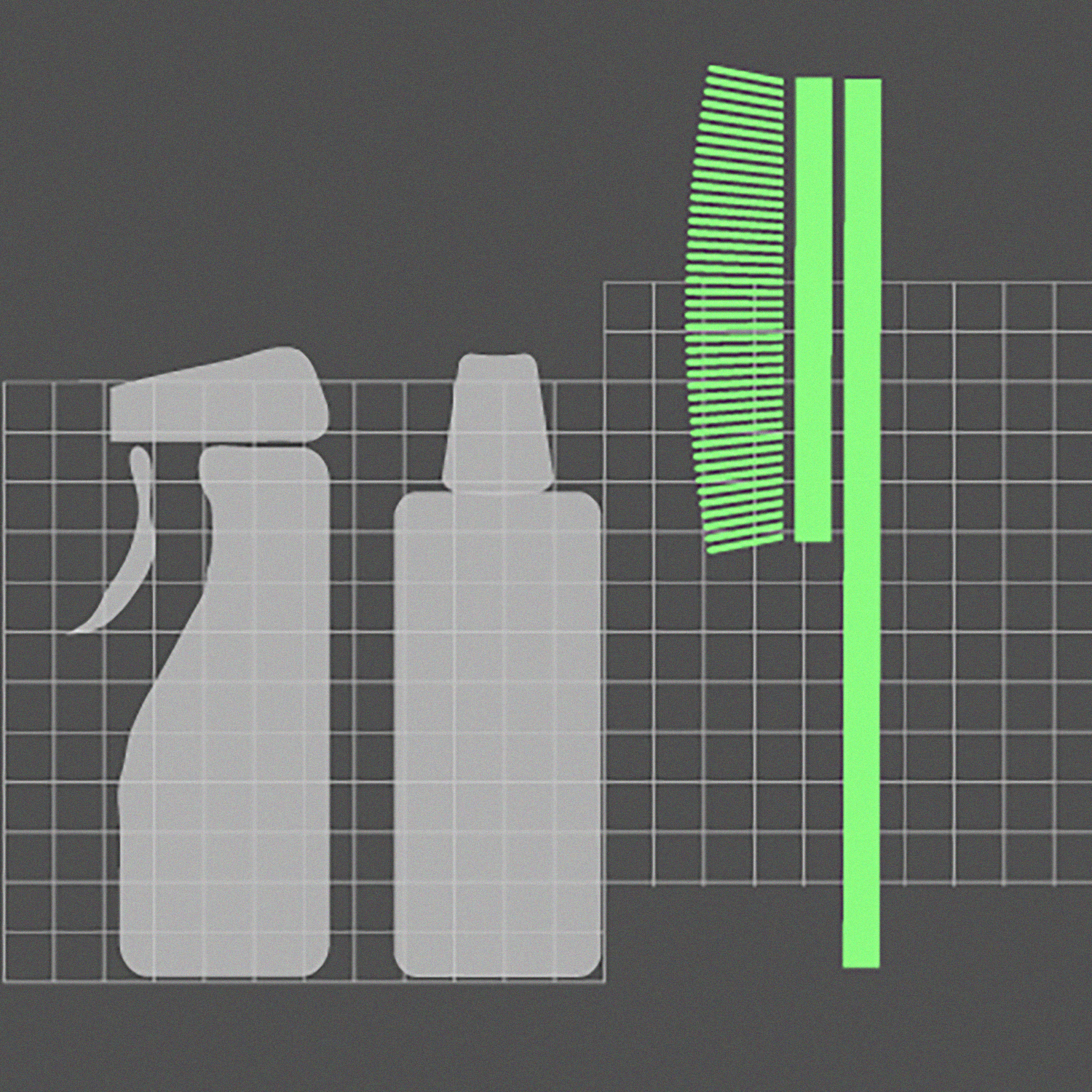 Gray and green illustration featuring the outline of cleaning products and a cleaning brush.
