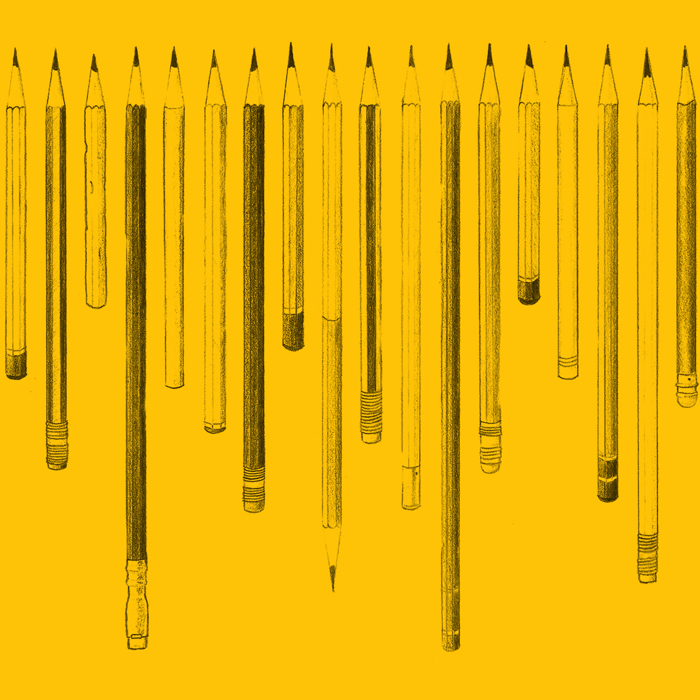 Yellow illustration of pencils of various lengths lined up next to each other.