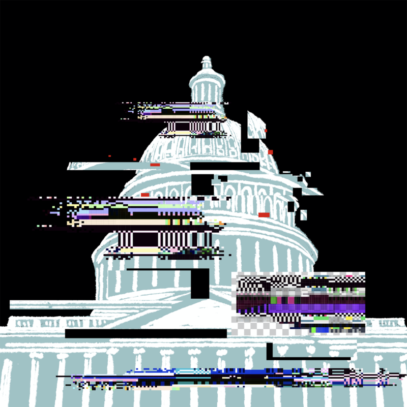 Foreboding illustration of a the white house being digitally corrupted over a black background