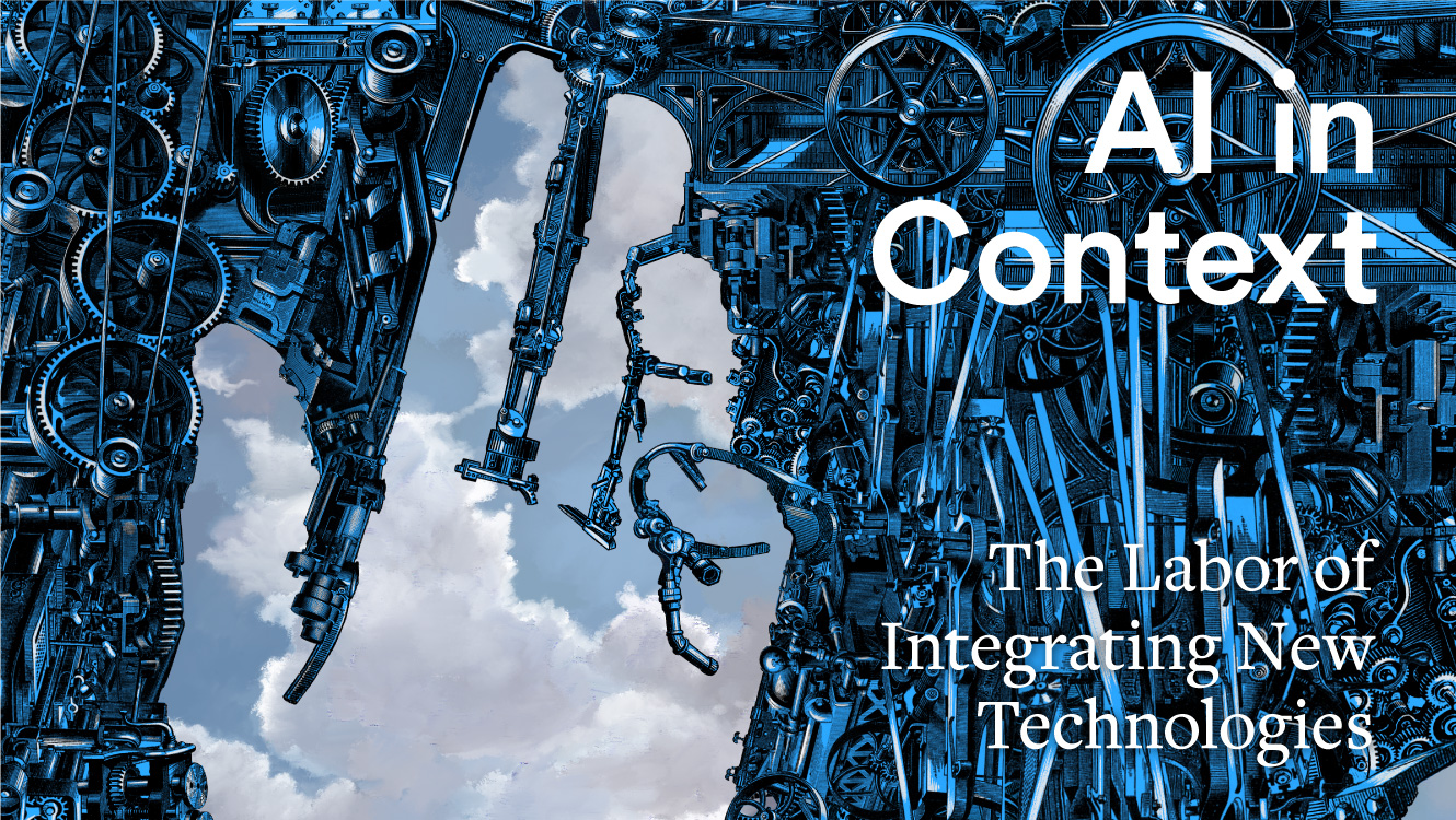 AI in Context, illustration of hand with machine parts