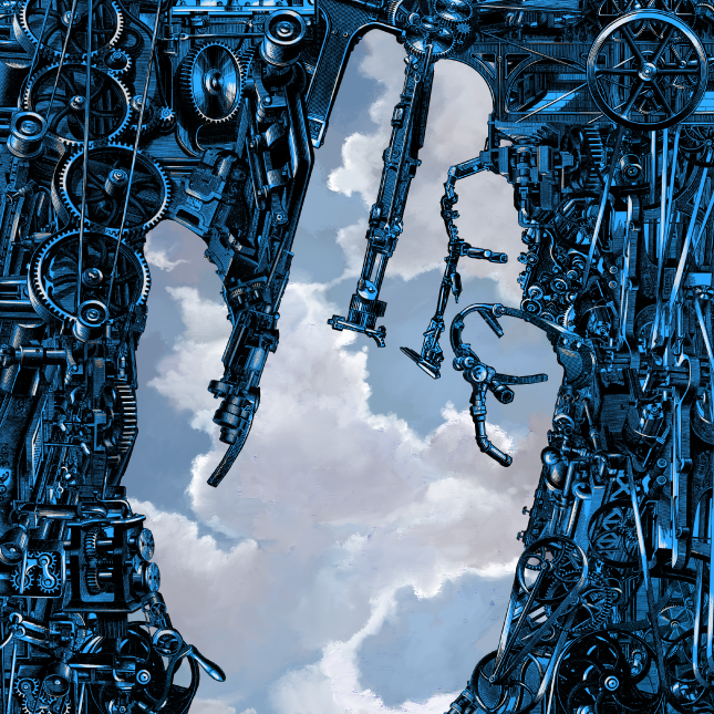 Illustration featuring the outline of a human hand over a background of clouds surrounded by blue robotic gears.