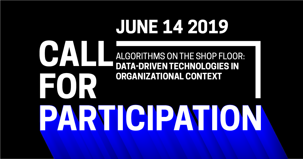 Closed) Call for Participation—Algorithms on the Shop Floor