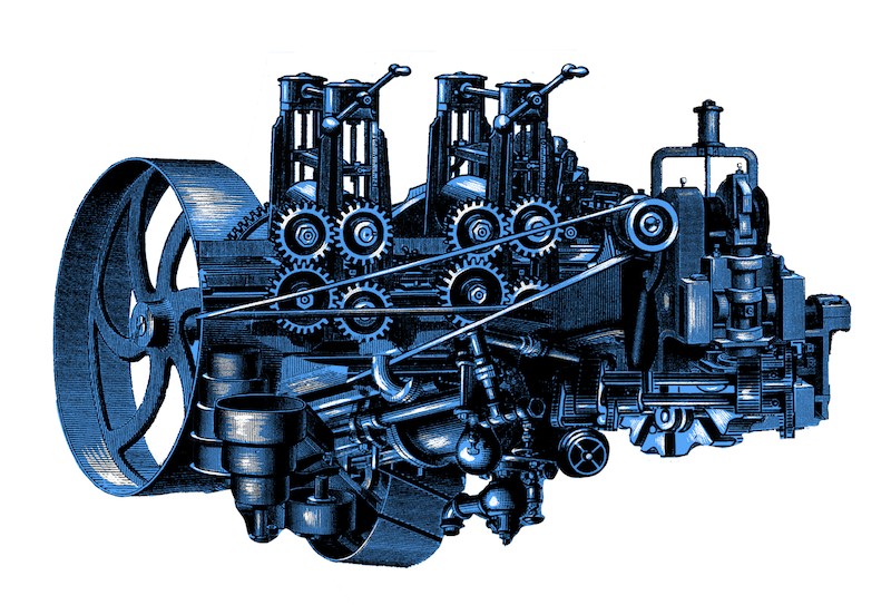 Detailed illustration of blue robotic gears.