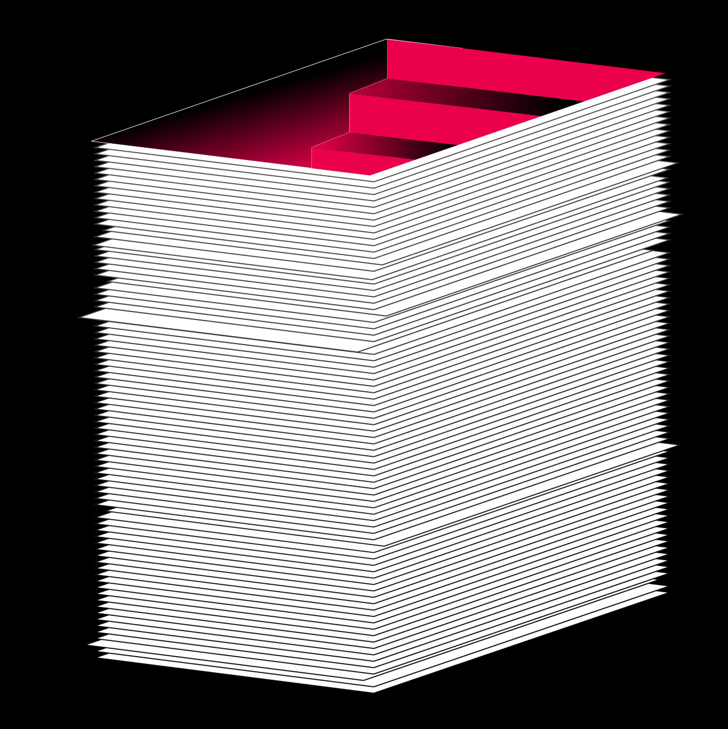 Illustration with black background and a red ominous staircase ascending out of a stack of white paper.
