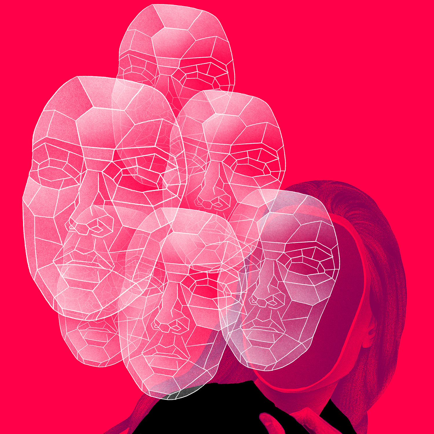 Image in a red color motif of woman with many computer-generated abstract masks floating and obscuring her face.