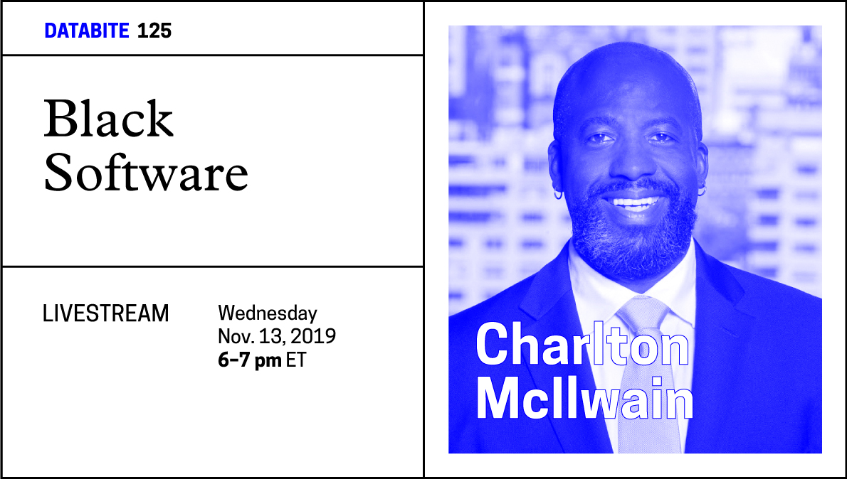 Headshot of Charlton McIlwain with blue filter over it. Advertising his Databite talk on Nov. 13