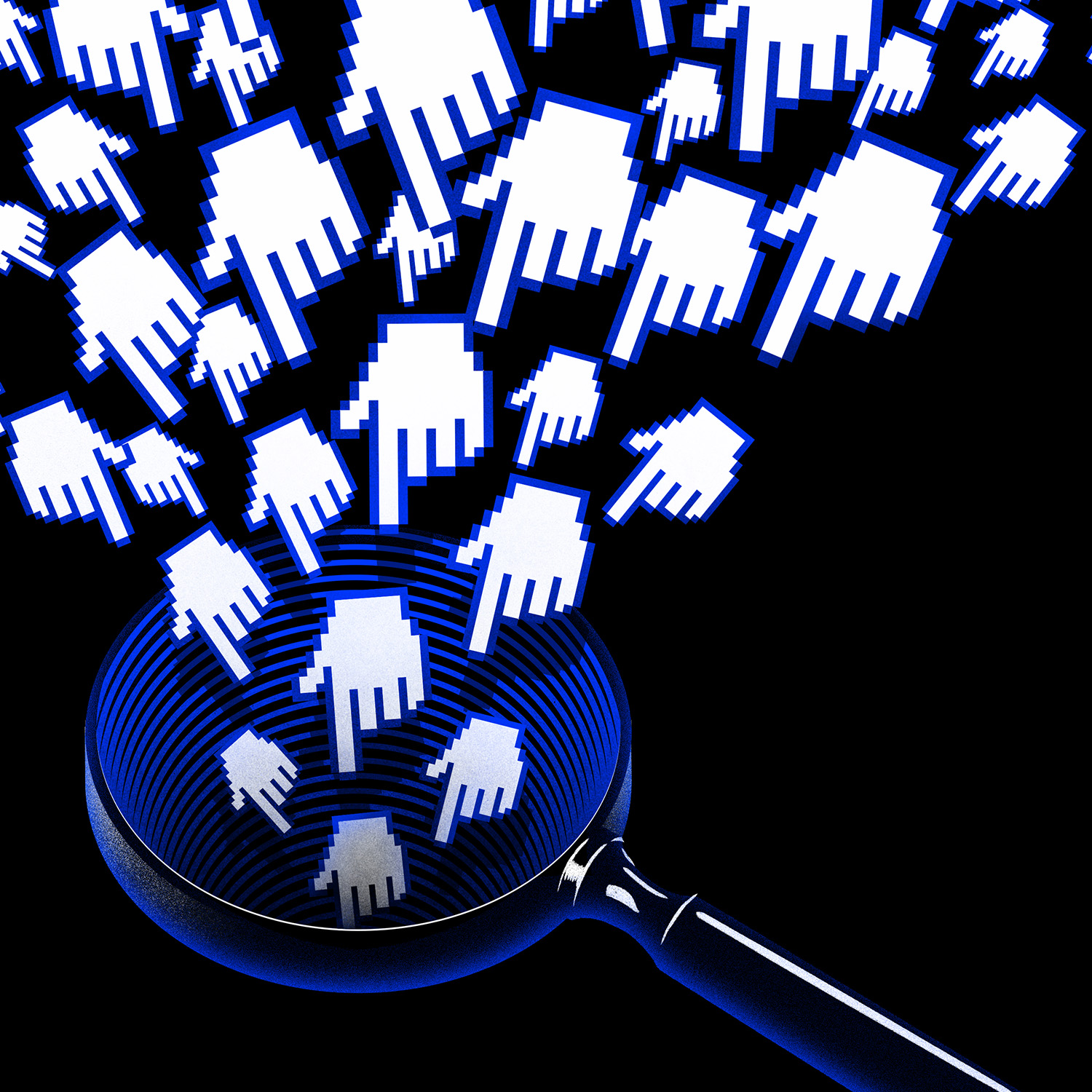 Image of a cluster of digital, white pointing hands descending towards a blue magnifying glass with a black background.
