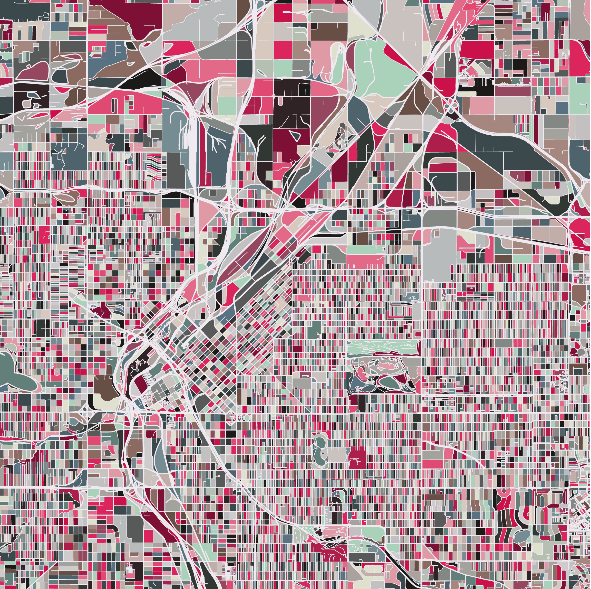 Abstract colorful grid map.