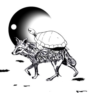 black and white image of a turtle riding on a coyote's back with the moon in the background