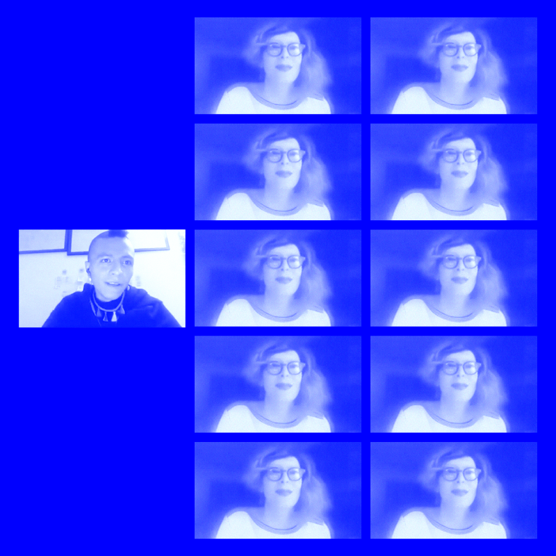 blue image, lots of repeated faces