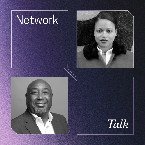 Network Talk. Purple background, 4 white outlined boxes. Two headshots diagonal from each other
