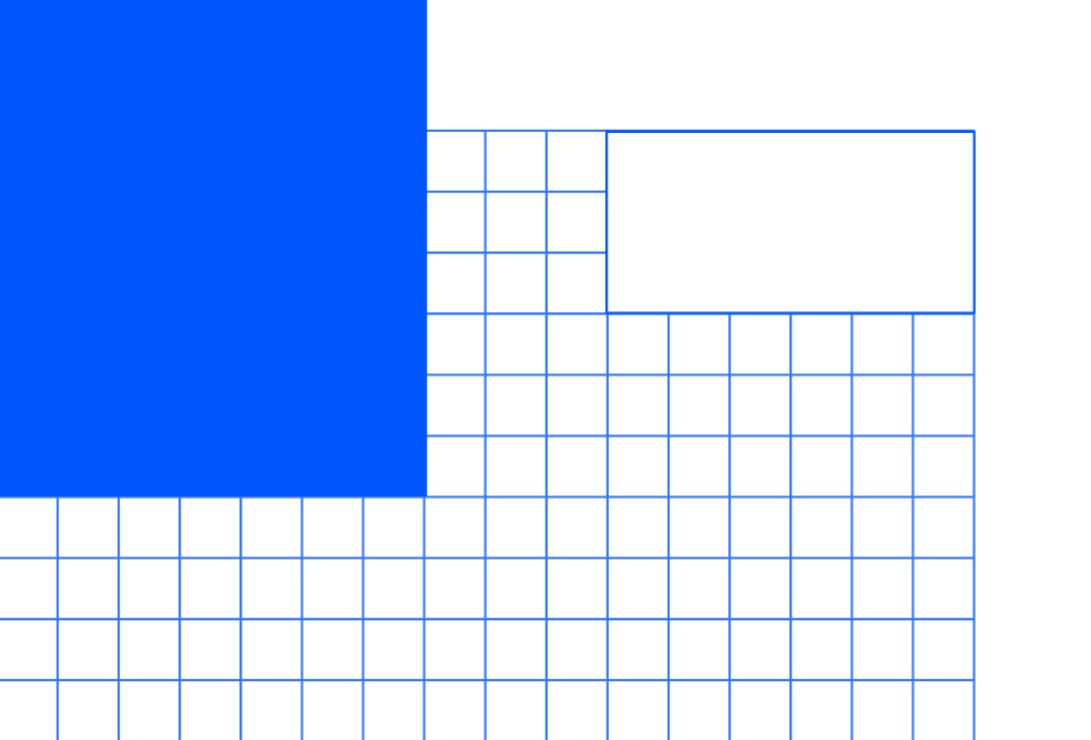 A blue square overlays a blue grid