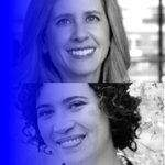 stacked headshots of Michele Gilman and Meredith Broussard with a blue gradient overlay