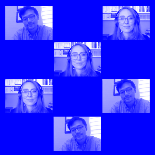Repeated Zoom video stills of peoples faces on blue background