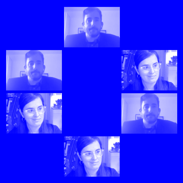 Blue tinted video stills from Zoom call