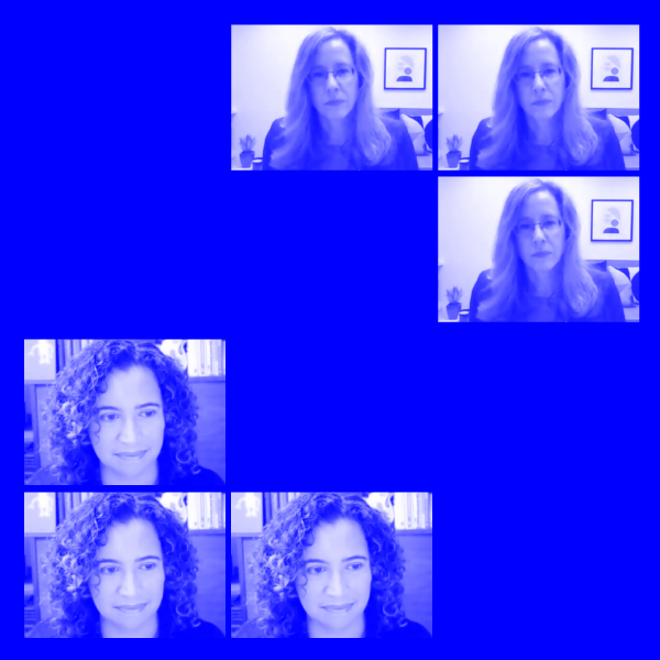 repeated Zoom video stills of women talking with blue tint