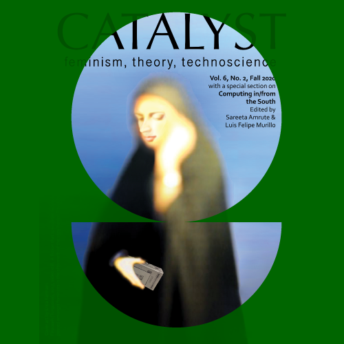 Catalyst - green background with blue circle. Woman dressed in black rest head on hand