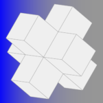 3-D square / star shape. Blue to white gradient background