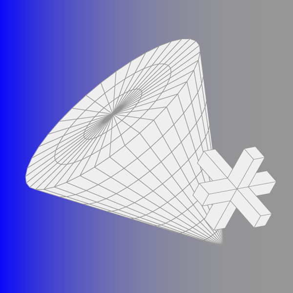 cone shape against blue-grey gradient background