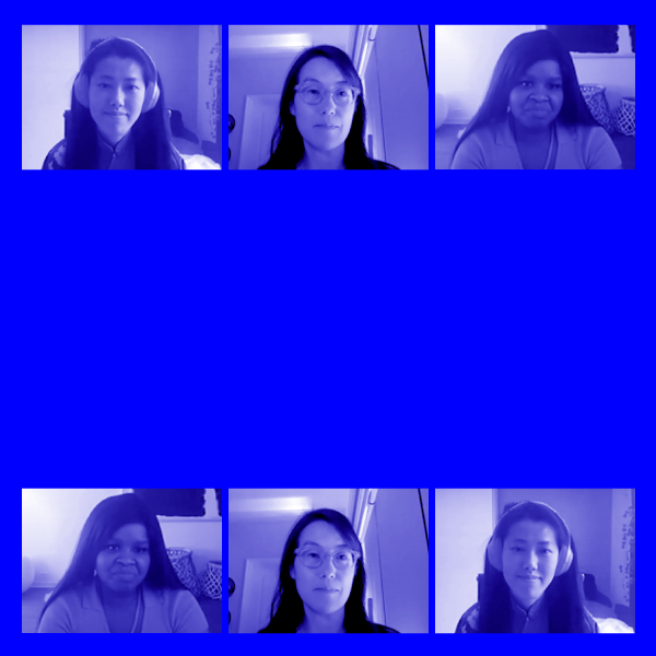 blue background with presenter images in small boxes. Yang Hong, Ellen Pao, McKensie Mack.